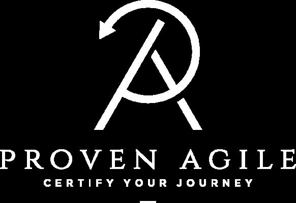 Proven Agile vertikal weiß Logo